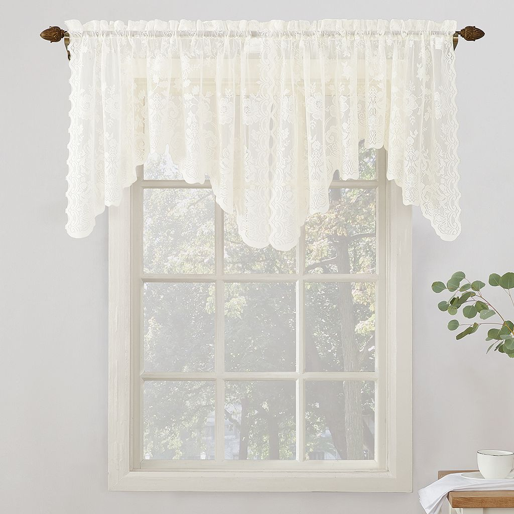 No918 Alison Floral Lace Sheer Curtain Swag Valance Pair