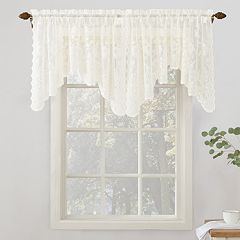 No918 Alison Floral Lace Sheer Curtain Swag Window Valance Pair