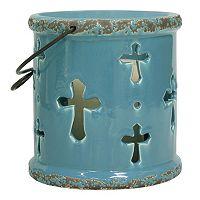 Stonebriar Collection Ceramic Cross Lantern Candle Holder