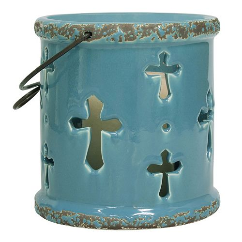 Stonebriar Collection Ceramic Cross Lantern Candle Holder