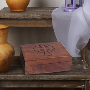 Stonebriar Collection Carved Cross Wood Box Table Decor