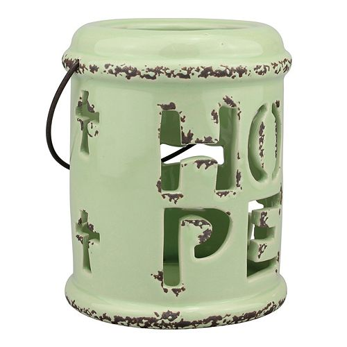 "Stonebriar Collection ""Hope"" Ceramic Lantern Table Decor"