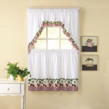 CHF Apple Blossom 3-piece Swag Tier Kitchen Window Curtain Set