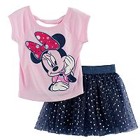Disney's Minnie Mouse Toddler Girl Graphic Tee & Foil Dot Tulle Skirt Set
