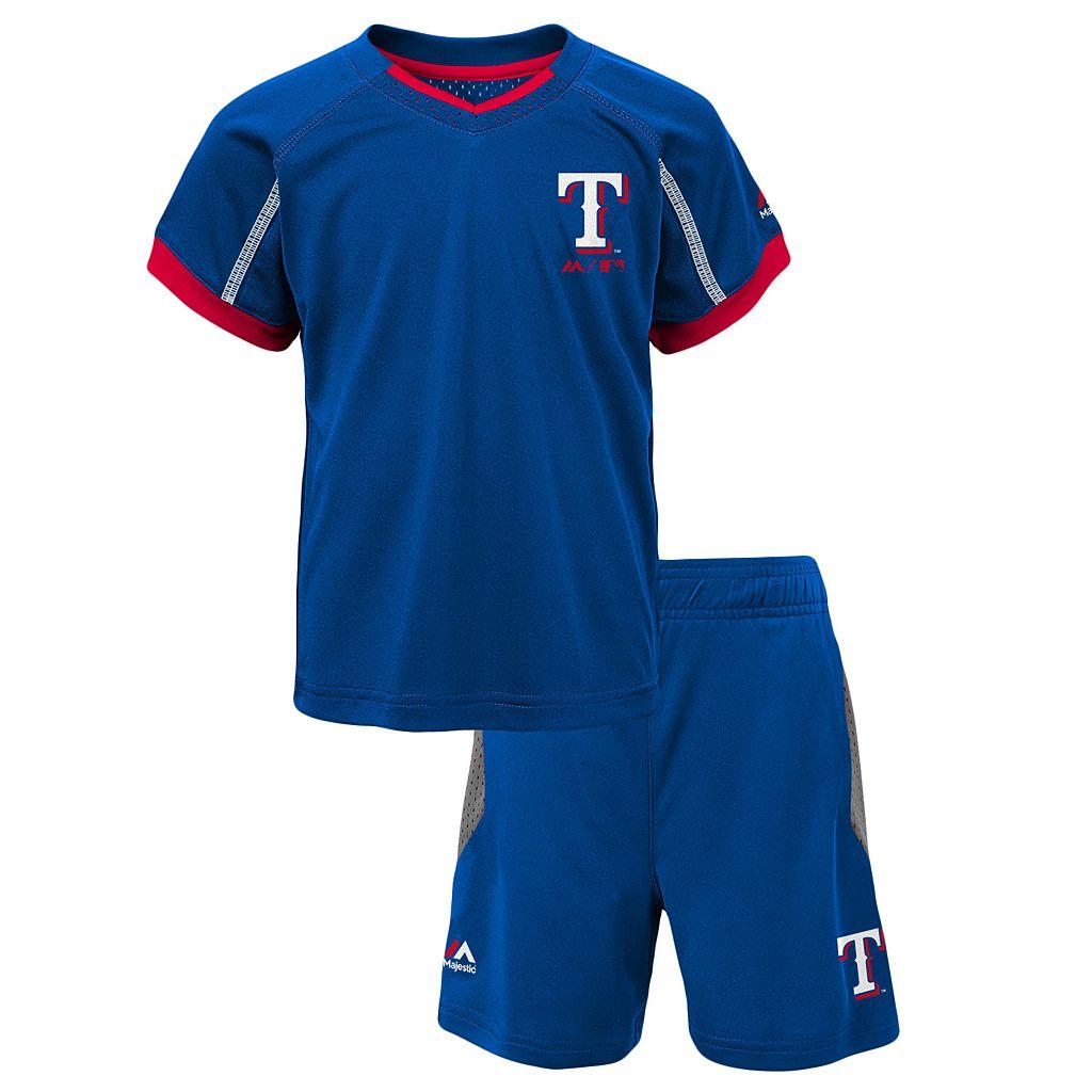 Toddler Majestic Texas Rangers Legacy Tee & Shorts Set