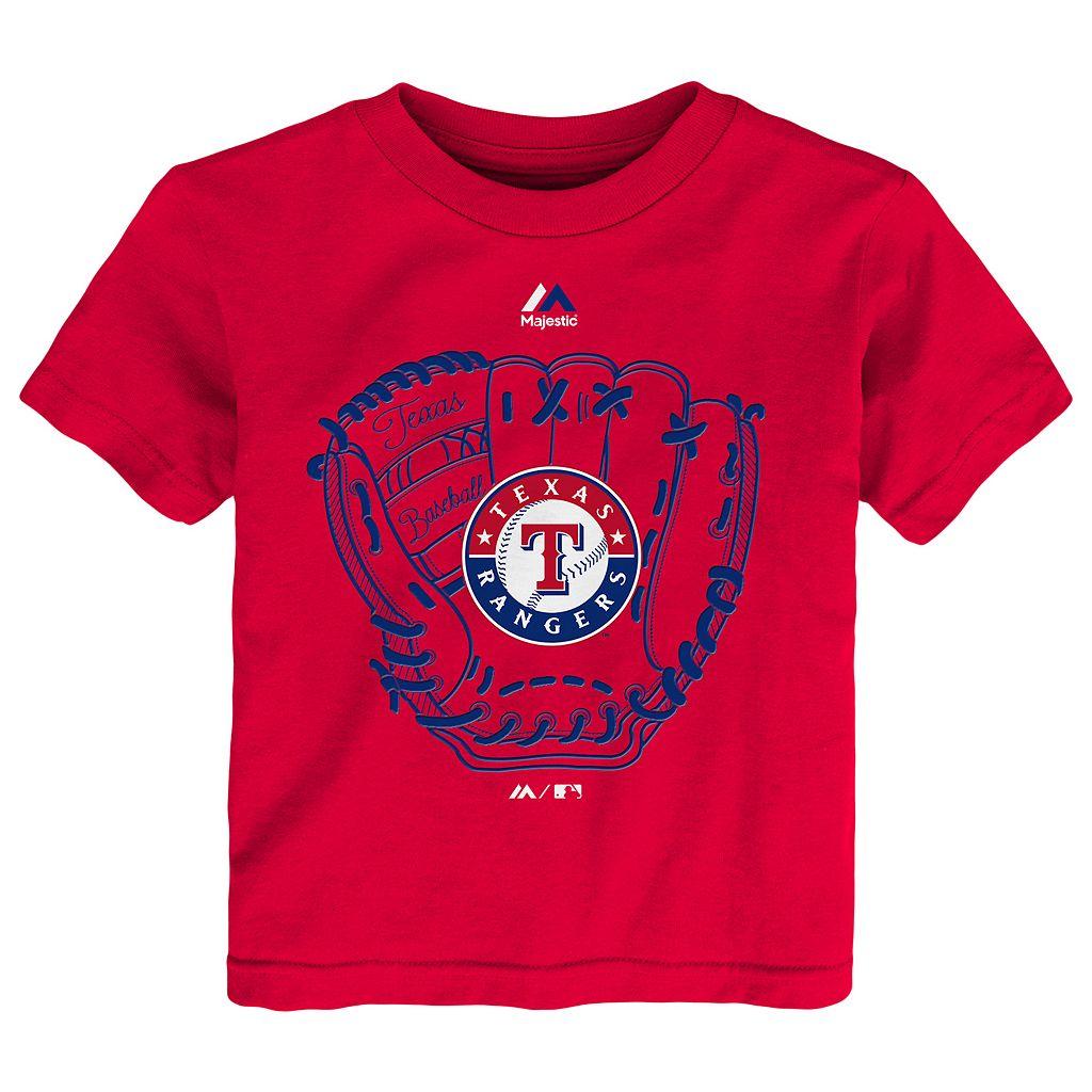 Toddler Majestic Texas Rangers Baseball Mitt Tee