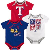 Baby Majestic Texas Rangers Go Team 3-Pack Bodysuit Set