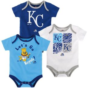 Baby Majestic Kansas City Royals Go Team 3-Pack Bodysuit Set
