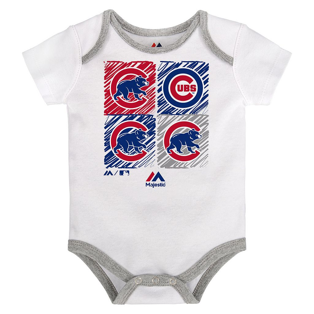 Baby Majestic Chicago Cubs Go Team 3-Pack Bodysuit Set