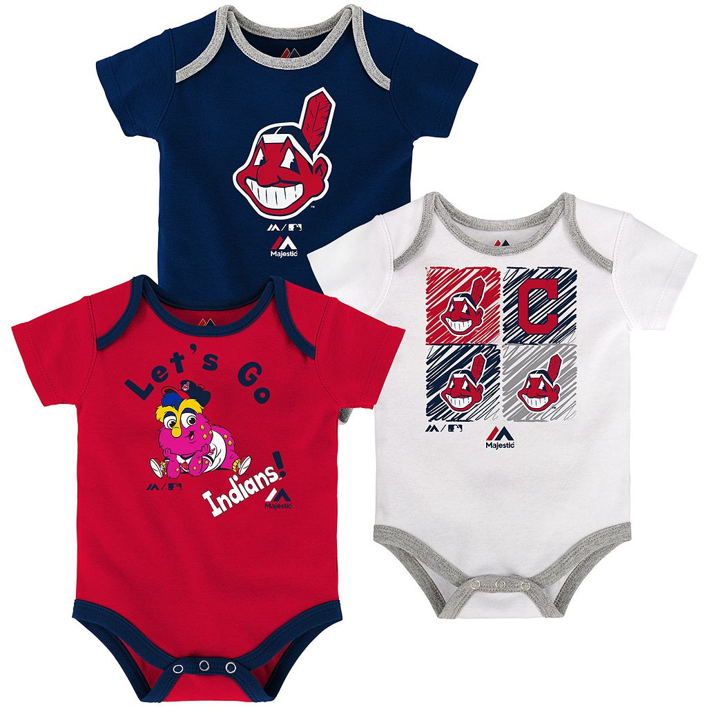 Baby Majestic Cleveland Indians Go Team 3-Pack Bodysuit Set
