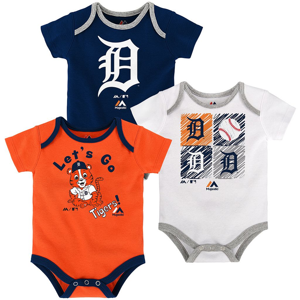 Baby Majestic Detroit Tigers Go Team 3-Pack Bodysuit Set