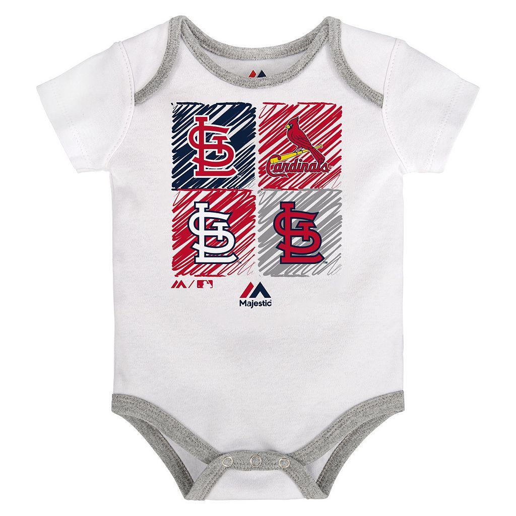 Baby Majestic St. Louis Cardinals Go Team 3-Pack Bodysuit Set
