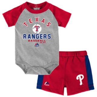 Baby Majestic Texas Rangers Fan Favorite Bodysuit & Shorts Set