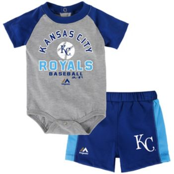 Baby Majestic Kansas City Royals Fan Favorite Bodysuit & Shorts Set