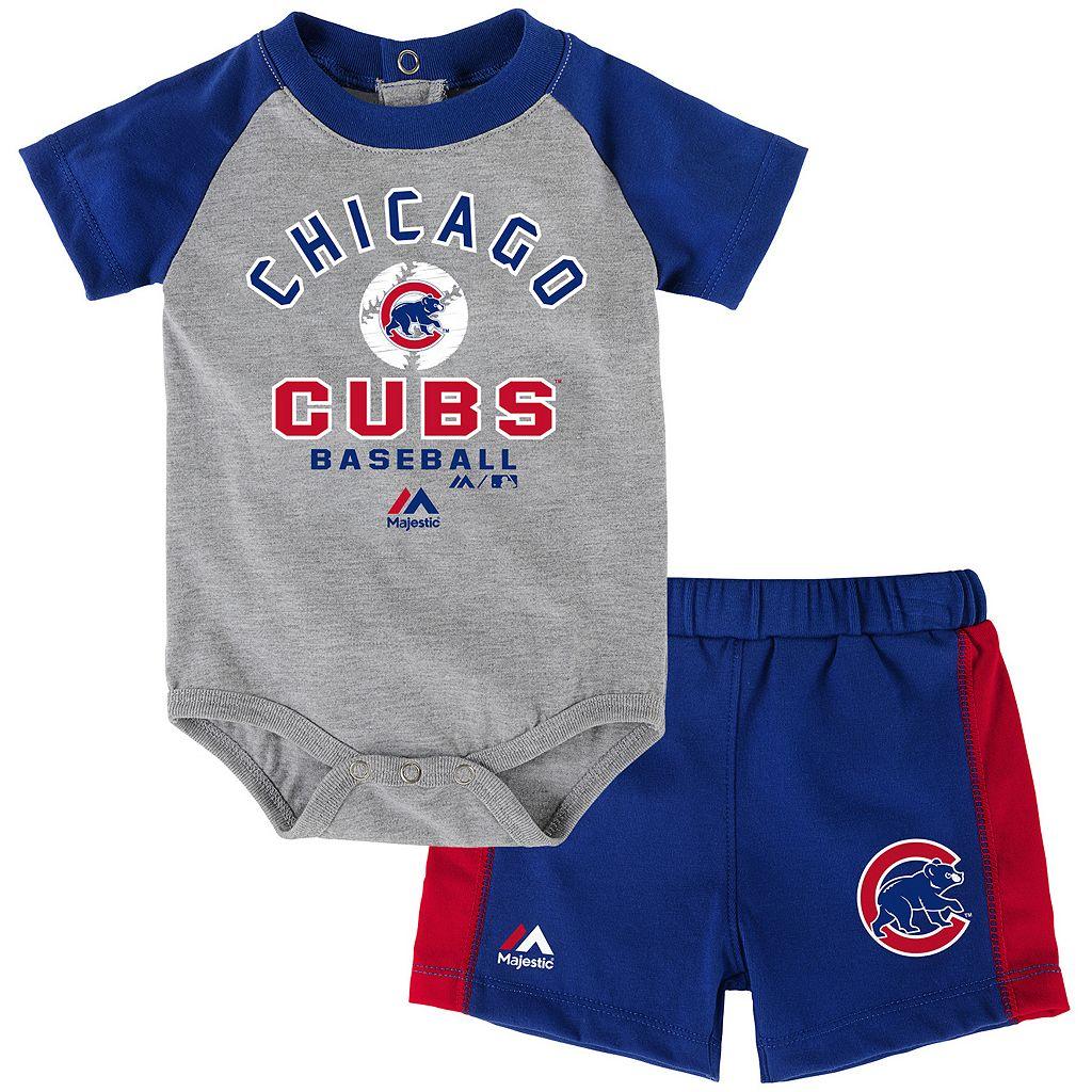 Baby Majestic Chicago Cubs Fan Favorite Bodysuit & Shorts Set