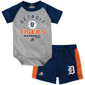 Baby Majestic Detroit Tigers Fan Favorite Bodysuit & Shorts Set