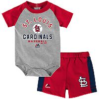 Baby Majestic St. Louis Cardinals Fan Favorite Bodysuit & Shorts Set