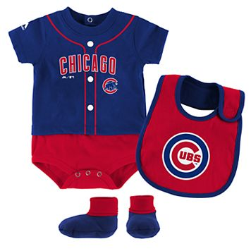 Baby Majestic Chicago Cubs Tiny Player Bodysuit, Bib & Bootie Set