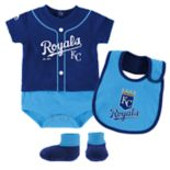 Baby Majestic Kansas City Royals Tiny Player Bodysuit, Bib & Bootie Set