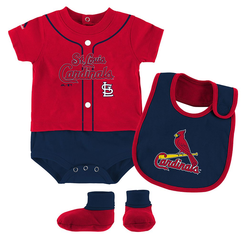 Baby Majestic St. Louis Cardinals Tiny Player Bodysuit, Bib & Bootie Set