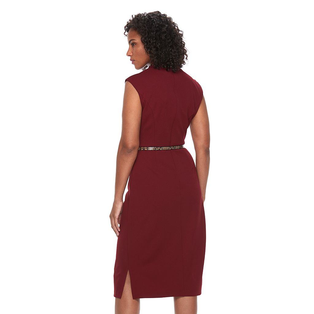 Women's Connected Apparel Choker Neck Sheath Dress