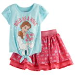 Disney's Beauty and the Beast Belle Toddler Girl Knot-Front Top & Print Skirt Set