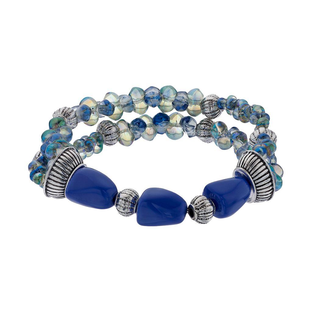 Napier Blue Beaded Double Strand Stretch Bracelet