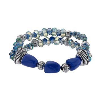 Napier Blue Beaded Double Strand Stretch Bracelet