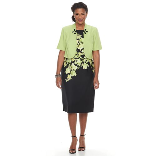 Plus Size Maya Brooke Floral Sheath Dress & Embellished Jacket Set