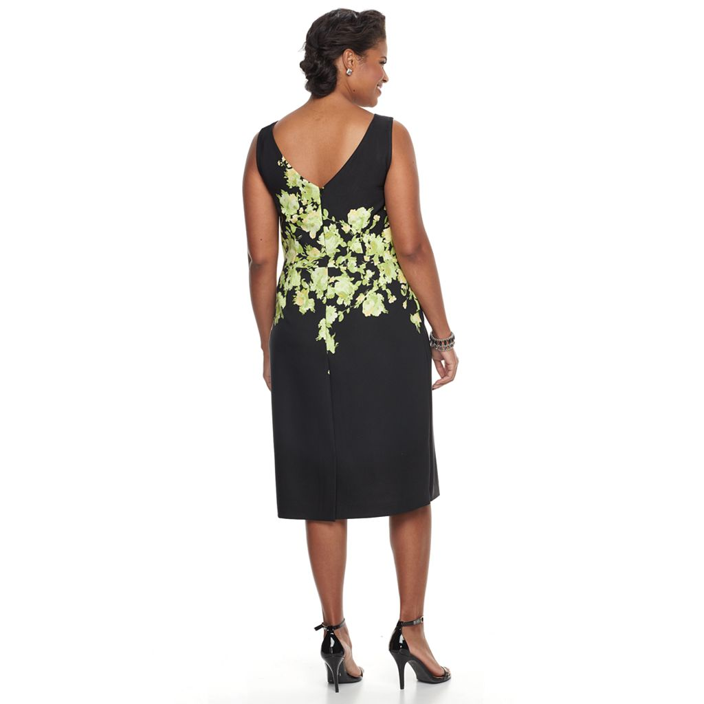 Plus Size Maya Brooke Floral Sheath Dress & Embellished Jacket Set