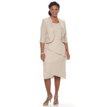 Plus Size Le Bos Tiered Shift Evening Dress & Jacket Set