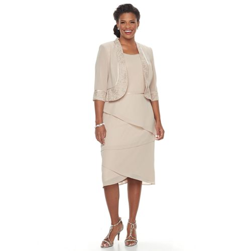 Plus Size Le Bos Tiered Shift Evening Dress & Jacket Set