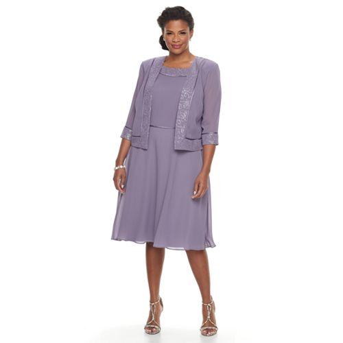 Plus Size Le Bos Georgette Fit & Flare Evening Dress & Jacket Set