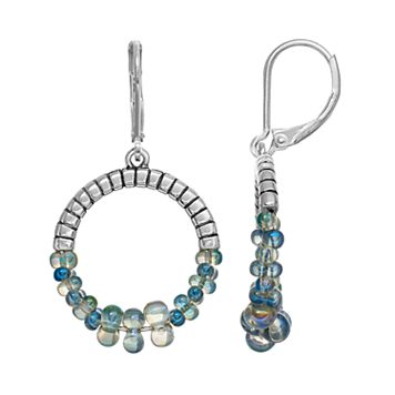 Napier Blue Beaded Drop Hoop Earrings