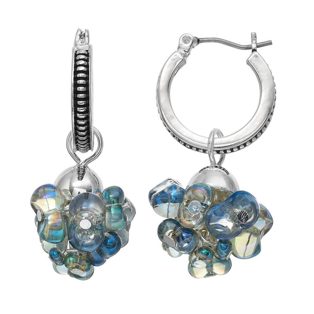 Napier Blue Beaded Cluster Hoop Earrings