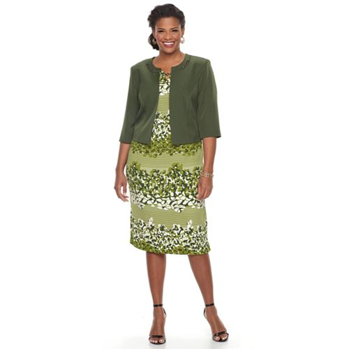 3db481cfe27c Plus Size Maya Brooke Floral Sheath Dress & Solid Jacket Set