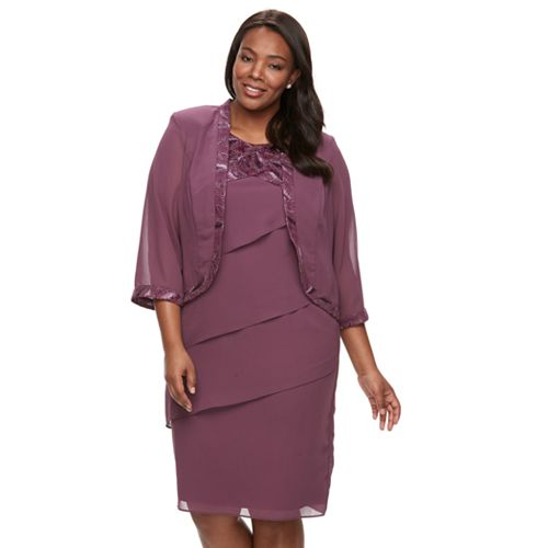 Plus Size Le Bos Lace-Trim Jacket & Tiered Dress