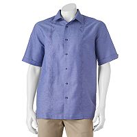 Men's Havanera Classic-Fit Embroidered Leaf Linen-Blend Button-Down Shirt