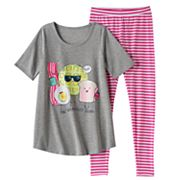 Girls 4-14 SO® 'The Breakfast Squad' Tunic & Striped Leggings Pajama Set