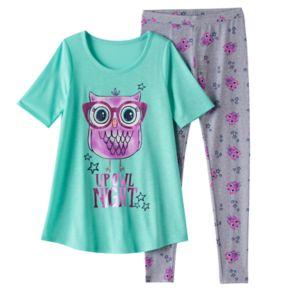"Girls 4-14 SO® ""Up Owl Night"" Tunic & Leggings Pajama Set"