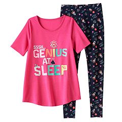 Girls 4-14 SO® 'SSSH…Genius At Sleep' Tunic & Leggings Pajama Set