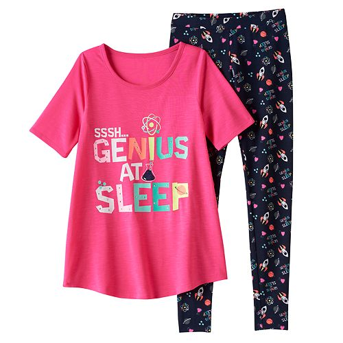 "Girls 4-14 SO® ""SSSH…Genius At Sleep"" Tunic & Leggings Pajama Set"