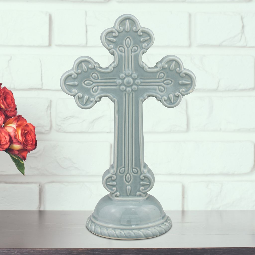 Stonebriar Collection Ceramic Cross Pedestal Table Decor