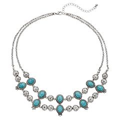 Simulated Turquoise & Bead Layered Necklace