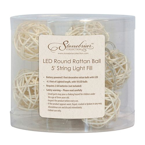 Stonebriar Collection 5-ft. LED Rattan Ball String Lights