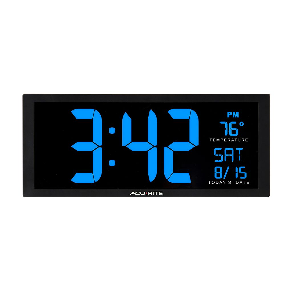 AcuRite Oversized LED Clock with Indoor Temperature