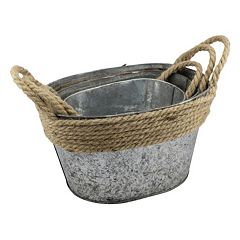 Stonebriar Collection Decorative Galvanized Bucket 3 pc Set