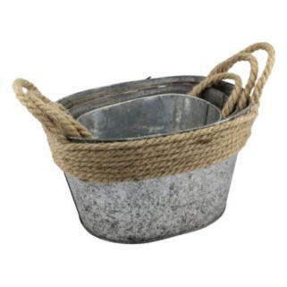 Stonebriar Collection Decorative Galvanized Bucket 3-piece Set