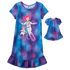Girls 4-16 SO® 'I Love Meowter Space' Dorm Nightgown & Doll Gown Set