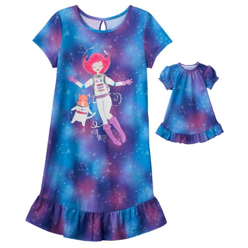 """Girls 4-16 SO® """"I Love Meowter Space"""" Dorm Nightgown & Doll Gown Set"""